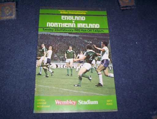 ENGLAND HOMES » 1982 ENGLAND V NORTHERN IRELAND