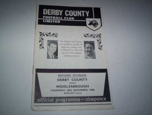 LEAGUE 1960s » 1968/69 DERBY COUNTY V MIDDLESBROUGH