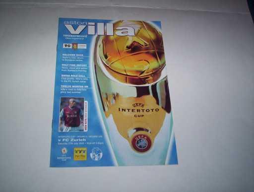 BRITISH CLUBS IN EUROPE » 2002/03 ASTON VILLA V ZURICH INTERTOTO CUP