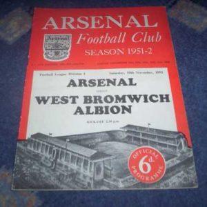 1951/52 ARSENAL V WBA