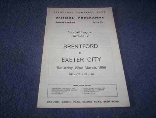 LEAGUE 1960s » 1968/69 BRENTFORD V EXETER