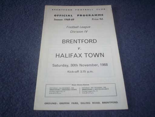 LEAGUE 1960s » 1968/69 BRENTFORD V HALIFAX