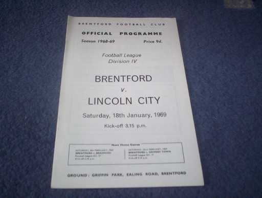 LEAGUE 1960s » 1968/69 BRENTFORD V LINCOLN