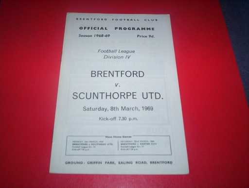 LEAGUE 1960s » 1968/69 BRENTFORD V SCUNTHORPE