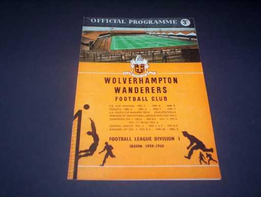 LEAGUE 1950s » 1959/60 WOLVES V SHEFFIELD WEDNESDAY