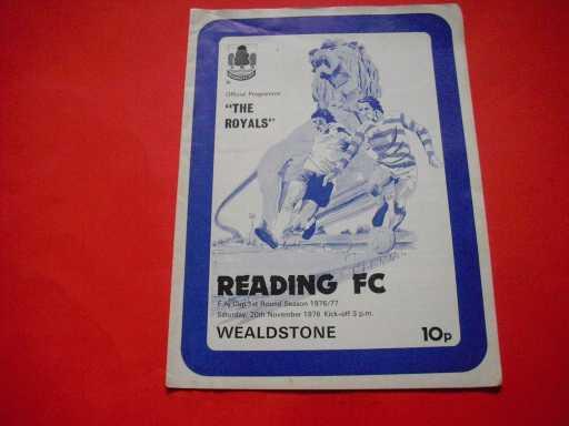 LGE V NON LGE IN FA CUP » 1976/77 READING V WEALDSTONE FA CUP