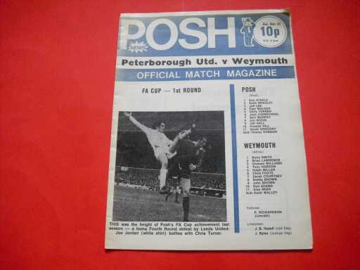 LGE V NON LGE IN FA CUP » 1974/75 PETERBOROUGH V WEYMOUTH FA CUP
