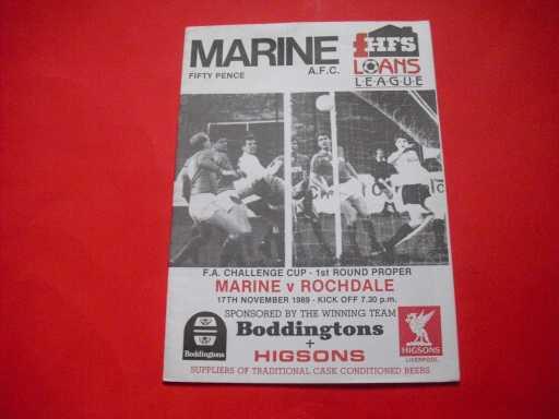 LGE V NON LGE IN FA CUP » 1989/90 MARINE V ROCHDALE FA CUP