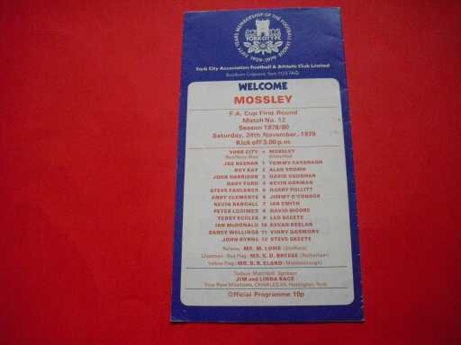 LGE V NON LGE IN FA CUP » 1979/80 YORK V MOSSLEY FA CUP