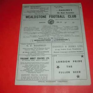 1958/59 WEALDSTONE V HENDON MIDDLESEX SENIOR CHARITY CUP REPLAY