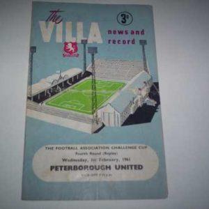 1960/61 ASTON VILLA V PETERBOROUGH FA CUP REP