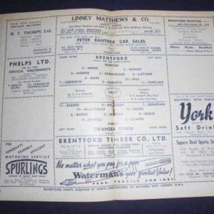 1950/51 BRENTFORD V SWANSEA