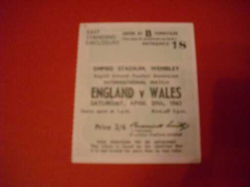 TICKETS - BIG MATCH » 1961 ENGLAND V WALES SCHOOLS TICKET