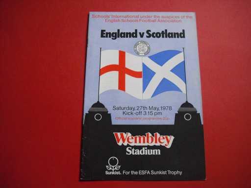 ENGLAND SCHOOLS » 1978 ENGLAND V SCOTLAND SCHOOLS