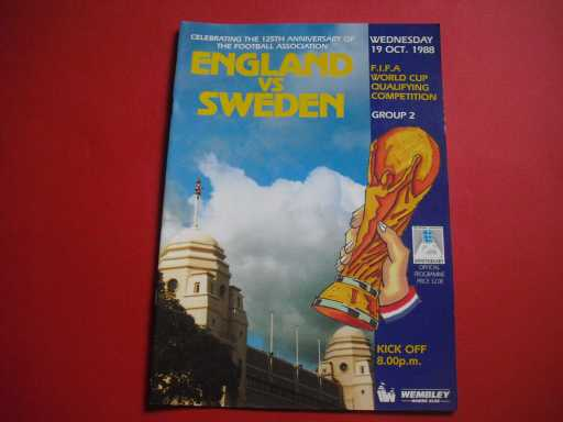 ENGLAND HOMES » 1988 ENGLAND V SWEDEN