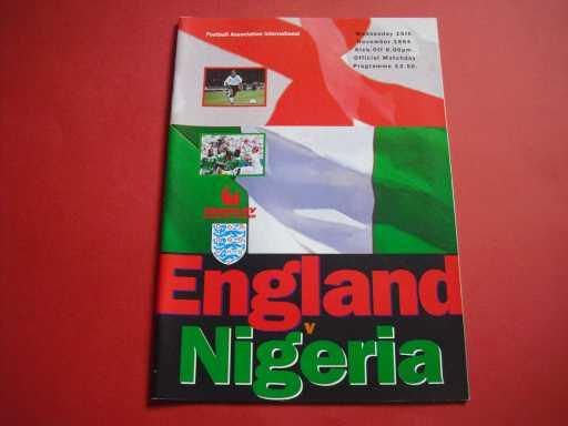 ENGLAND HOMES » 1994 ENGLAND V NIGERIA