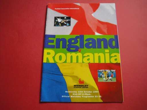 ENGLAND HOMES » 1994 ENGLAND V ROMANIA