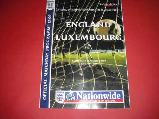ENGLAND HOMES » 1999 ENGLAND V LUXEMBOURG