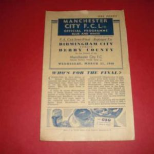 1945/46 BIRMINGHAM V DERBY COUNTY FA CUP S/F REPLAY