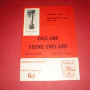 1968 ENGLAND V YOUNG ENGLAND @ ARSENAL