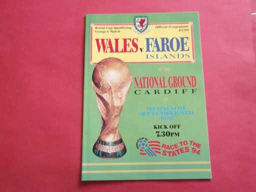 WALES » 1992 WALES V FAROE ISLANDS WORLD CUP