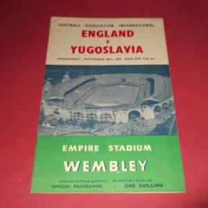1956 ENGLAND V YUGOSLAVIA