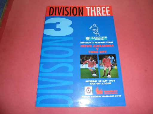 PLAY OFF FINALS » 1992/93 CREWE V YORK PLAY OFF FINAL