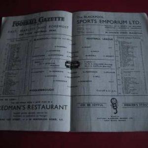 1949/50 BLACKPOOL V MIDDLESBROUGH
