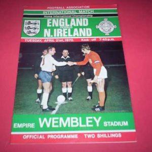 1970 ENGLAND V NORTHERN IRELAND