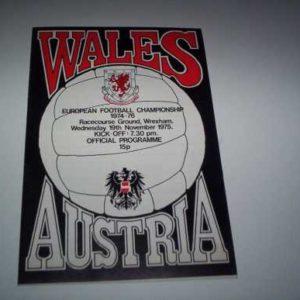 1975 WALES V AUSTRIA EUROPEAN CHAMPIONSHIP @ WREXHAM