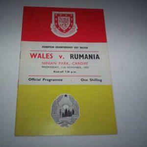1970 WALES V RUMANIA EUROPEAN CHAMPIONSHIP @ CARDIFF