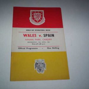 1961 WALES V SPAIN WORLD CUP @ CARDIFF