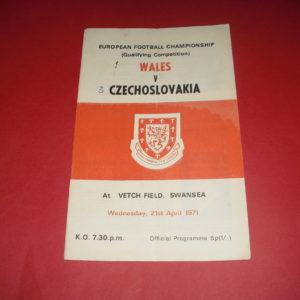 1971 WALES V CZECHOSLOVAKIA