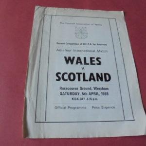 1969 WALES V SCOTLAND AMATEUR INTERNATIONAL